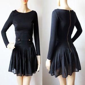ASOS Buckle Black Mini Dress Chiffon Mesh NWOT